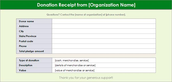 Charitable Donation Receipt Template #1