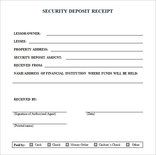 Doc595655 Deposit Receipt Template Security Deposit Receipt – Down Payment Receipt Form