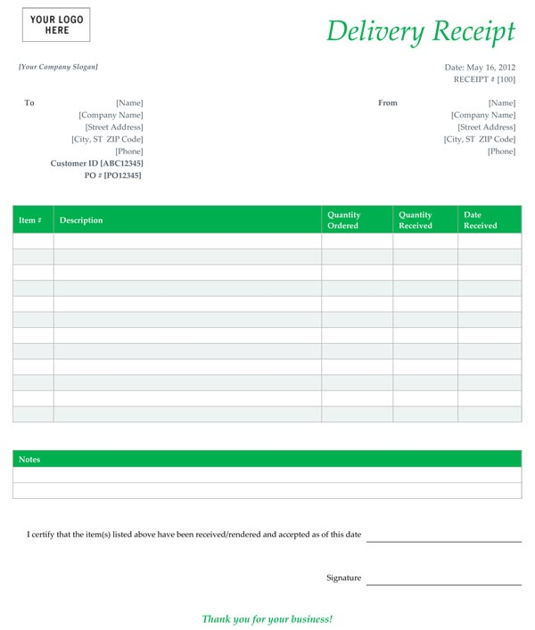 delivery receipt form template free