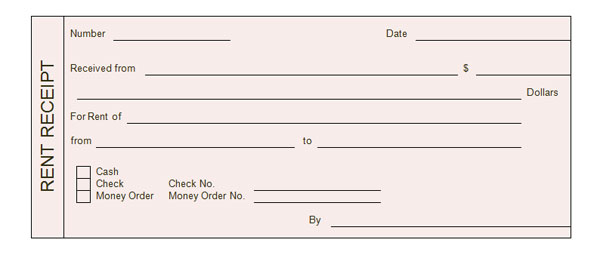 Rental Receipt Form  Blank Receipts Templates