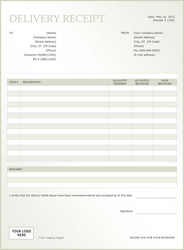 Receipt Template  Delivery Slip Template