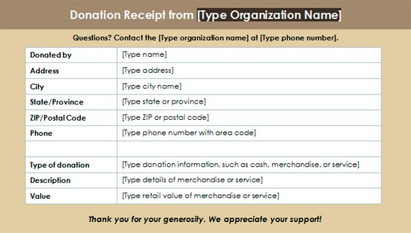 Charitable Donation Receipt Template 3 – Sample Donation Receipt