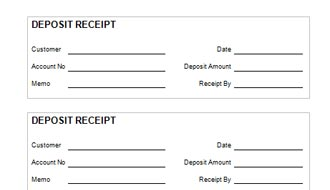 down payment receipt sample