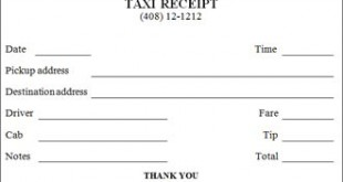 Taxi Receipt Template For Free
