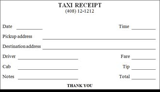 Blank Taxi Receipt Doc. - Google Search