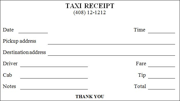 Printable Taxi Receipt – Free Printable Receipts for Services