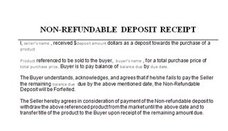 Receipt for Non-refundable Deposit