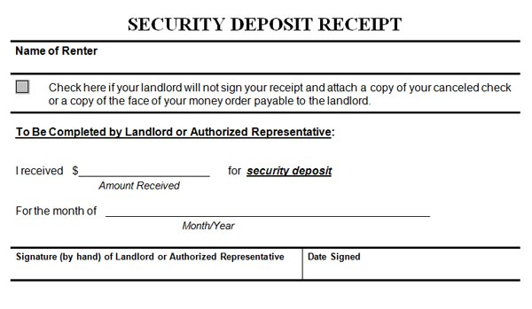 Security Deposit Receipt – Down Payment Receipt Form