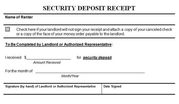 non refundable deposit form  Security Deposit Receipt