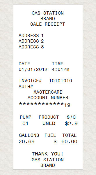 Chevron Gas Card >> Gas Station Receipt