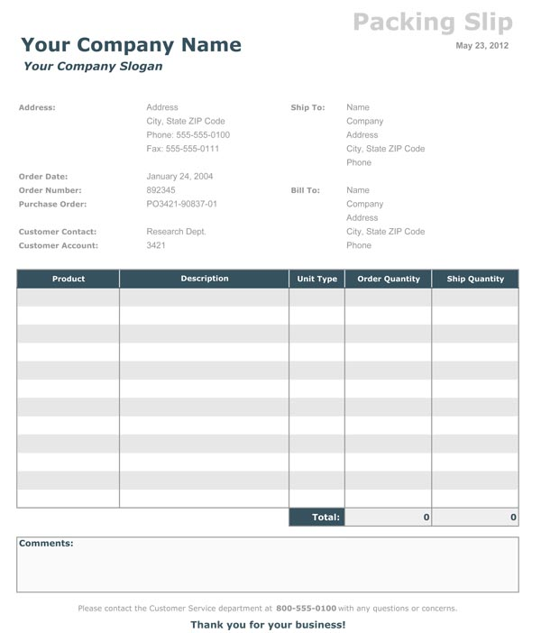 Receipt Template  Packing Slip Example