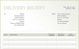 sample delivery receipt