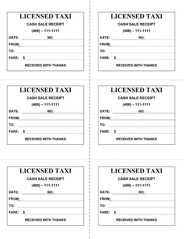 taxi cab receipt template