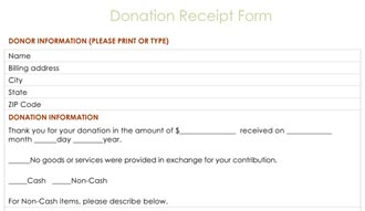 Donation Receipt Form