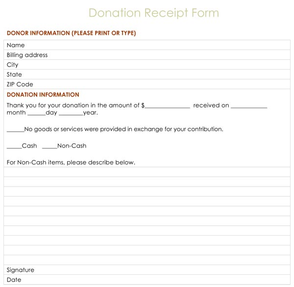 donation receipt form. Black Bedroom Furniture Sets. Home Design Ideas