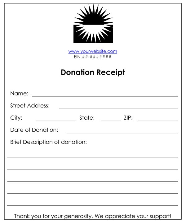 Donation Receipt Form – Sample Donation Receipt
