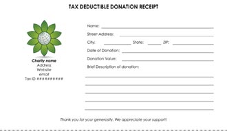 Tax Deductible Donation Receipt